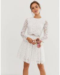 ASOS Кружевное Свадебное Платье Кроп-топ Мини Gigi-белый