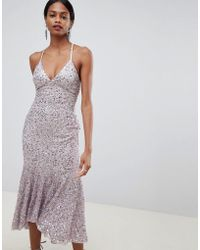 ASOS - Cami Midaxi Dress In All Over Sequin With Fluted Hem - Lyst