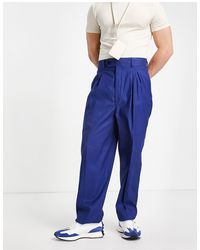 ASOS Pantalon slim taille haute en lin - Bleu marine
