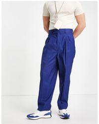 ASOS – Schmale Hose mit hohem Bund aus Leinen - Blau