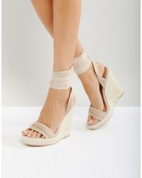 Call It Spring Cadoilla Nude Espadrille Ankle Tie Sandals - Natural