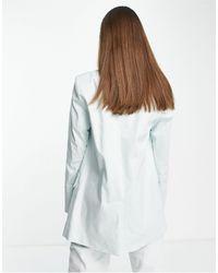 ALIGNE Organic Cotton Tailored Single Breasted Longline Blazer - Green