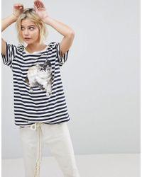 Paul & Joe Sister Cat Print T-shirt - Blue