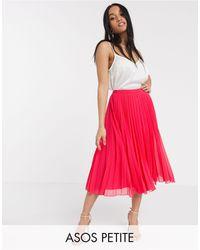 ASOS Asos Design Petite Pleated Midi Skirt - Pink