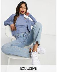 Fashion Union Gilet ajusté d'ensemble boutonné sur le devant en jersey texturé - Bleu