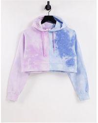 Chelsea Peers Organic Cotton Contrast Tie Dye Cropped Hoodie - Blue