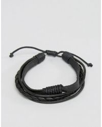 Jack & Jones - Jack Josh Multi Layer Bracelet In Black - Lyst