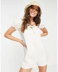 Pull&Bear Milkmaid Playsuit - White