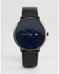 Tommy Hilfiger - 1791462 Leather Watch In Black 40mm - Lyst