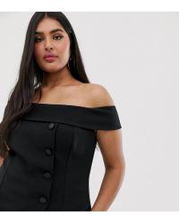 River Island Bardot Top With Asymmetric Button Detail In Black