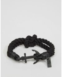 Icon Brand - Anchor Woven Bracelet In Black - Lyst