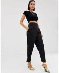 ASOS Tailored Smart High Waist Balloon Trousers - Black