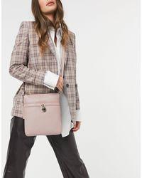 Paul Costelloe – farbene Umhängetasche aus Leder mit goldfarbenen Metallelementen - Pink