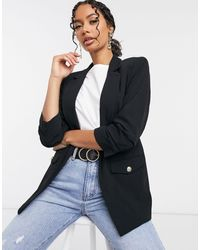 River Island - Blazer With Ruched Sleeves - Lyst