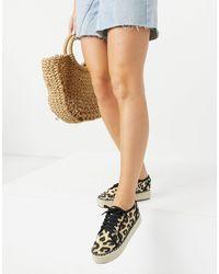 ASOS James - Sneakers flatform stile espadrilles leopardate - Multicolore