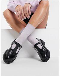 TOPSHOP Черные Туфли С T-образным Ремешком -черный Цвет