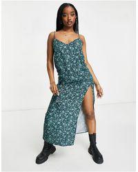 Motel Maxi Slip Dress With Thigh Split - Green