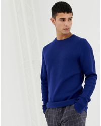 Jack & Jones Premium Knitted Jumper With Straight Edge Hem - Blue