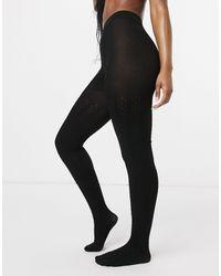 Lindex Eco Viscose Cable Knit Tights - Black