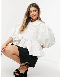 Sister Jane - Dream - Blusa bianca con colletto a pettorina decorata - Lyst