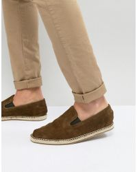 Frank Wright - Slip On Espadrilles In Khaki Suede - Lyst