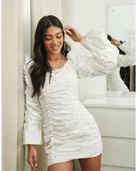 Public Desire Bardot Dress With Extreme Ruching - White