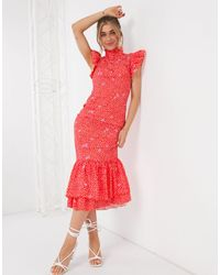 Never Fully Dressed Frill Shoulder Midaxi Dress With Ruffle Hem - Red