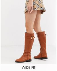 ASOS Wide Fit Constance Flat Knee Boots - Brown