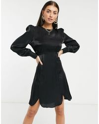 Y.A.S . Shine Silky Lace Trim Mini Dress - Black