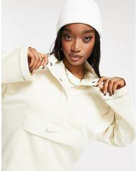 Nike Swoosh Quarter Zip Funnel Sweatshirt - Natural