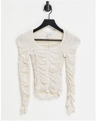 & Other Stories Ruched Long Sleeve Top - White