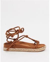 Pull&Bear Faux Suede Flatform Sandals - Brown