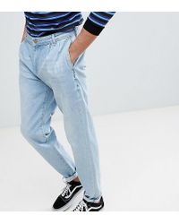 ASOS - Asos Tall Double Pleat Jeans In Light Wash Blue - Lyst