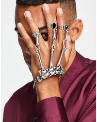 ASOS Halloween - Decorazione per mani a forma di scheletro argento - Multicolore