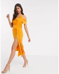 ASOS Drape Detail Cami Pencil Midi Dress - Orange