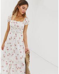 RahiCali Rahi Staycation Lace Palm Print Maxi Dress - White
