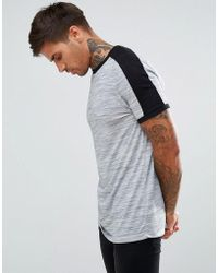 ASOS - Asos T-shirt With Shoulder Colour Block In Interest Fabric In Grey - Lyst