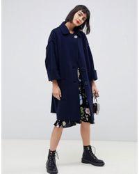 MAX&Co. Oversized Wool Coat - Blue