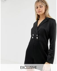 Reclaimed (vintage) Inspired Tux Playsuit With Vintage Button Detail - Black