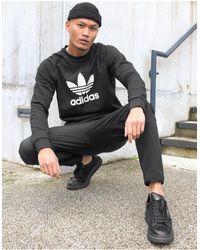 adidas Originals - Черный Свитшот С Большим Логотипом-трилистником - Lyst