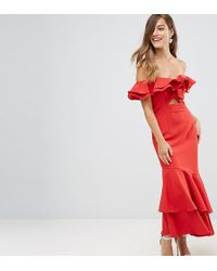 Jarlo - Ruffle Bardot Maxi Dress With Cut Out - Lyst