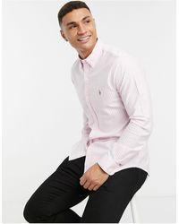 Polo Ralph Lauren - Оксфордская Полосатая Рубашка Узкого Кроя Бело-розового Цвета С Логотипом -розовый - Lyst