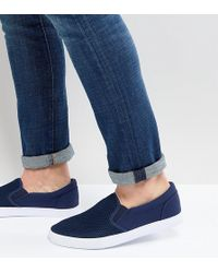 ASOS - Wide Fit Slip On Trainers In Navy Mesh - Lyst