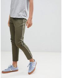 Boohoo - Tapered Chinos With Side Panel Detail In Khaki - Lyst
