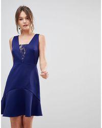 Reiss Hudson Lace Insert Dress - Blue