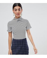 Lost Ink - Body With Tie Neck And Frill Sleeve In Stripe - Lyst