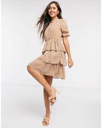 Y.A.S Short Sleeve Dress With Ruffle Skirt - Multicolour