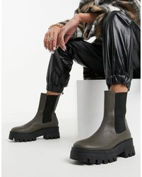 Pull&Bear Platform Chelsea Boot With Cleated Sole - Green