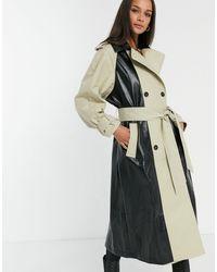 ASOS Trench-coat en vinyle à empiècements - Noir & taupe - Multicolore