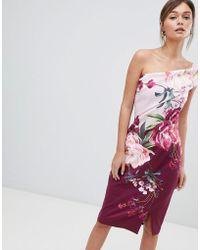 Ted Baker - One Shoulder Pencil Dress In Serenity Floral - Lyst